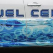 GM's prototype fuel cell vehicle is a modified Equinox SUV. The three on-board storage tanks hold up to nine pounds of hydrogen, good for 200 miles of travel.