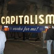 This installation allowed visitors to vote on whether Capitalism works for them.