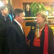 Kucinich talks with AFL-Cio chief Harriet Applegate after losing to Congresswoman Marcy Kaptur.