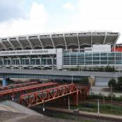 Cleveland Browns Stadium sits on the former site of Cleveland Municipal Stadium. Then Browns owner said the city wasn't moving fast enough to improve or replace the old facility in 1995, when he moved his franchise to Baltimore