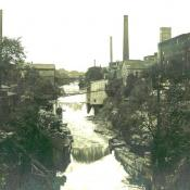 The river once had many dams used to run mills.