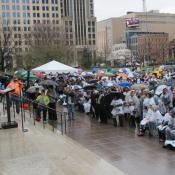 Some 2,500 people rallied to expand Medicaid outside the Ohio Statehouse.