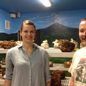 Pamela Hendrix is studying to be a mycologist. Joe Dennis is the Mushroom Shack's Spawn Master.