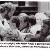 Bill Cohen helps to draw questions from the crowd at a law conference in the early 1980s.