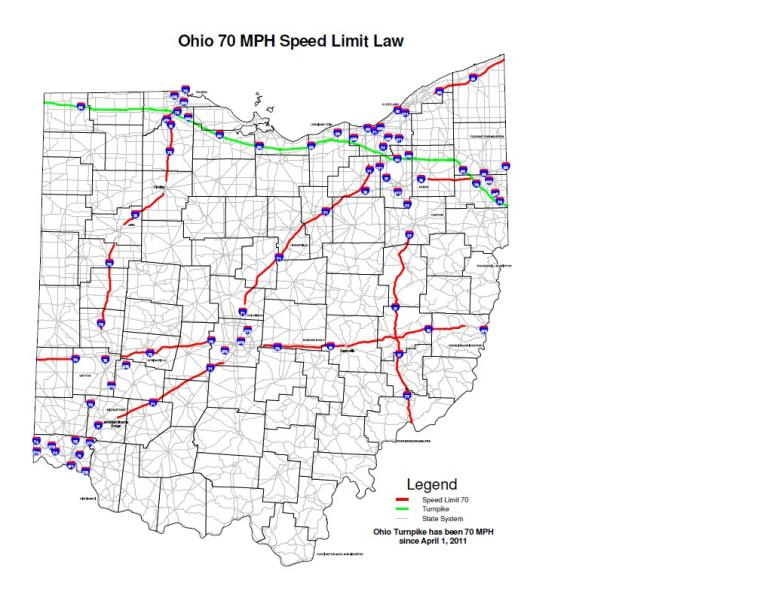 Bright Red Lines Show The New Portions Of Ohio S Interstate Highways That Will Have A 70mph Sd Limit Effective July 1st The Green Line Is The Ohio