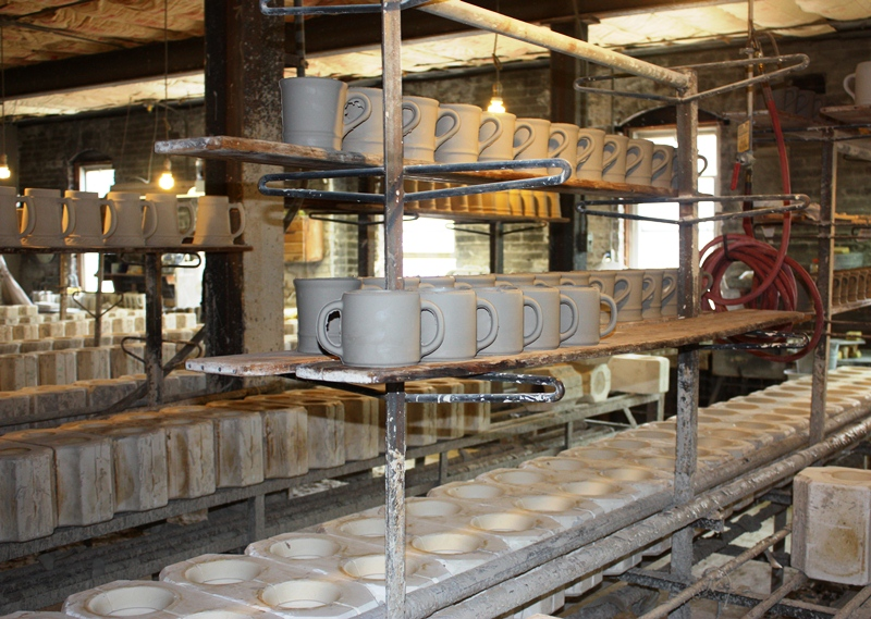 American Mug & Stein makes each mug by hand, a process that is overshadowed by Japan and China's cutting-edge technology
