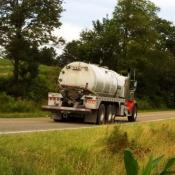 Frackwater truck--similar vehicles are used to haul brine water away for disposal