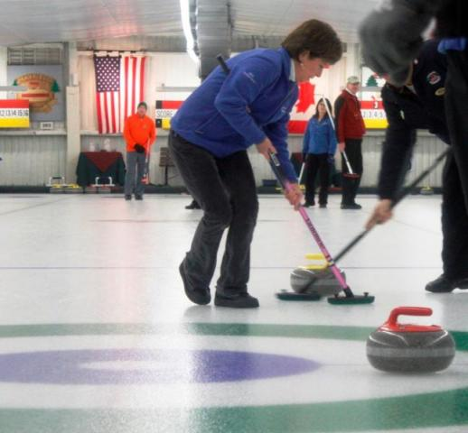 The curling broom, or brush, is used to sweep the ice surface in the path of the stone. Prior to the 1950s, most curling brooms were made of corn strands and were similar to household brooms of the day. Now, they are made of fabric.