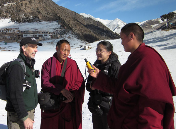 Tom McCarthy with monks in Tibet