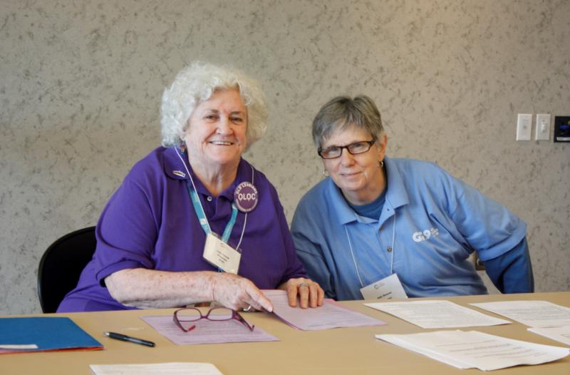 Sally Tatnall (L), 76, and Judy Benson, 68, are part of Old Lesbians Organizing for Change