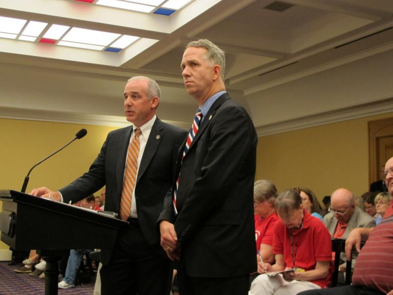 Rep. Matt Huffman of Lima, chair of the Rules Committee, and Rep. Andy Thompson of Marietta speak at the Common Core bill hearing.