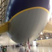 The underbelly of the envelope of Wingfoot One, which is made of polyurethane, polyester and tedlar film.