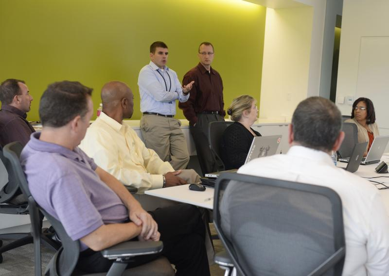 Goodyear Veterans Association President Chris Wozniak leads a meeting of the group.