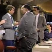 Al Roker (center) spent the early 1980s at WKYC in Cleveland, then moved to WNBC in New York City. On January 6, 1987, Harvey Pekar (left) was appearing on 'Late Night with David Letterman,' taping across the hall from WNBC's news studios. Pekar and Letterman crashed the newscast, but all Pekar wanted to do was reminisce with Roker about Wally Kinan, Dick Goddard and Cleveland... the bizarre encounter is profiled in a chapter about Roker in 'Cleveland TV Tales Volume 2.'